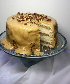 white velvet cake with caramel frosting