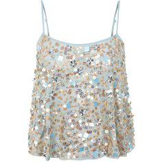 Miss Selfridge Aqua Embellished Cami ($74) ❤ liked on Polyvore
