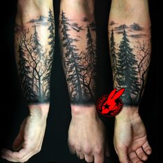 tree silhouette forest pine arm sleeve tattoo by Jackie Ra… | Flickr