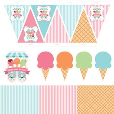sorvete2545 Ice Cream Theme, Ice Cream Candy, Pumpkin Birthday Parties, 4th Birthday Parties, Carnival Themed Party, Ice Cream Social, Party Kit, Candy Party, Craft Party