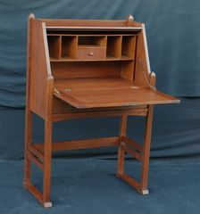 Voorhees Craftsman Mission Oak Furniture - Rare Early Stickley Brothers drop front desk with hammered straps and drawer pull