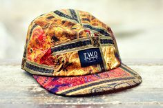 The Worlds Original Face  TWO Face London3rd Edition 5 panel cap, hat- Black box logo - Antique pattern cotton- Black leather white stitched strap