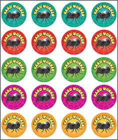 Teacher stickers for sale online. Reward and merit stickers available, purchase them online today. Teacher Stickers, Hard Workers, Ants, Spider, Classroom, Decorating, School, Class Room, Decor