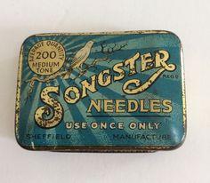 Vintage Songster Gramophone Needle Tin Containing Gramophone Needles Medium Tone