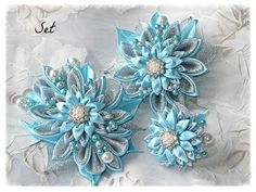 """Sparkling Blue and Silver Kanzashi Fabric Flower set of Hair clip, Brooch and Ring. """"Frosty morning"""""""