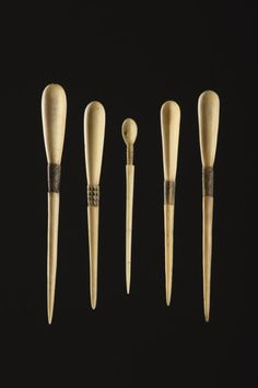 Five South African Zulu Carved Bone Snuff Spoons