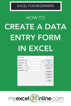 Create a Data Entry Form in Excel Computer Help, Computer Programming, Computer Tips, Computer Science, Microsoft Excel Formulas, Excel For Beginners, Excel Hacks, Data Table, Data Entry