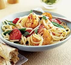 Chilli prawn linguine swap fromage frais for coconut cream, swap tomatoes for somethingelse. Chilli Prawn Linguine, Pasta Linguini, Chilli Prawns, Shrimp Pasta, King Prawn Linguine, Prawn Spaghetti, Seafood Linguine, Chili Shrimp, Basil Pasta