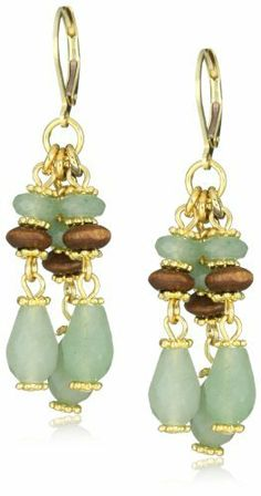 "Rachel Reinhardt ""Nicole"" Aventurine and Wood Dangle Earrings Rachel Reinhardt. $35.99. Green aventurine teardrops and polished wood beads. Made in USA. 14k gold plated chain findings. Due to the natural elements of stones, stones may vary in shape or size. Save 49% Off!"