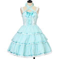 エンジェルティアードジャンパースカート Angelic Pretty ($98) ❤ liked on Polyvore featuring dresses