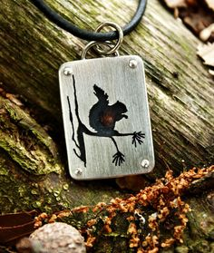Squirrel pendant sterling silver and copper by justplainsimple Too sweet!