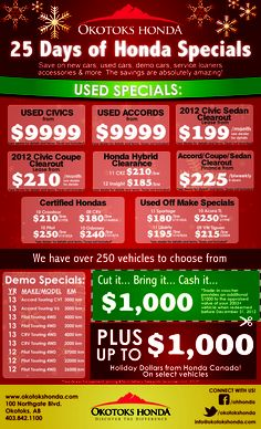 25 Days of Honda Specials! Civic Coupe, Civic Sedan, Honda Specials, Used Cars, Day