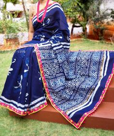 Elegant Chanderi Saree with Kantha, Sequence work & Stitched borders