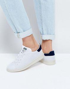 415ec312ad4 adidas Originals Primeknit White And Navy Stan Smith Sneakers - White