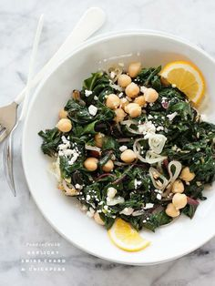 Swiss Chard and Chickpea Recipe | 26 Homemade Vegetarian Recipes by Homemade Recipes at http://homemaderecipes.com/healthy/26-homemade-vegetarian-recipes/