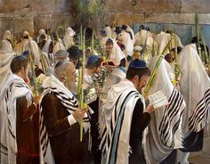 Sukkot at the Wall, oil painting