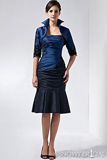 Strapless Blue and Black Taffeta Dress With Matching Bolero Jacket and Black High Heels