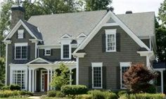Grey exterior paint ideas - I think we need to add headers to our windows too.