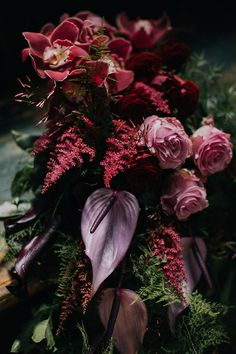 An idea for a bold, dramatic statement bouquet for the unique bride. Deep purple lilies and marsala / maroon orchids add a element of romance to this striking floral creation. Purple Lily, Deep Purple, Orchid Bouquet, Bouquets, Marsala, Lilies, Orchids, Floral Design, Romance