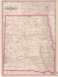 Railroad & County Map of Dakota (1884)  George F. Cram was both engraver and publisher of this 1884 map showing the economic development of Dakota Territory. It measures 29 ½ by 17 ½ inches. Source: SHSND 978.402 C889r 1884