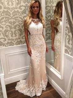 White Prom Gown,Sexy Prom Dresses,Lace Evening Gowns,Mermaid Party Dresses,Tulle Evening Gowns,Modest Formal Dress,White Evening Gown For Teens