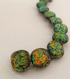 Dichroic Glass Link Bracelet in dazzling Oranges by 3DGlassDesigns