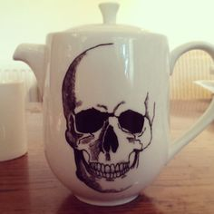 Hand Painted Tea Pot with skull design by bycandlelight27 on Etsy, £14.00
