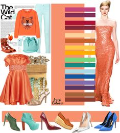 Orange Color Combinations For Clothes, Color Combos, Fashion Colours, Colorful Fashion, Look Fashion, Fashion Outfits, Pantone Colour Palettes, Color Pairing, Matching Outfits