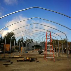 new greenhouse going up in our brand new prop area! yahoo!! @ Annie's Annuals & Perennials