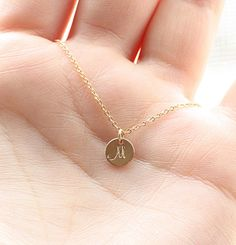 Tiny Gold Initial Necklace. THIS.