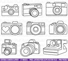 Camera Clipart Clip Art Photography Logo Elements von PinkPueblo