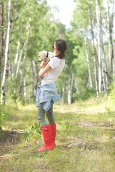 Pink Peonies: red-hunter-boots-wellies
