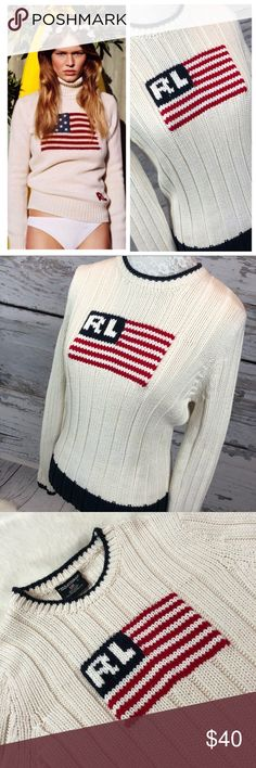 """•Vintage• POLO Ralph Lauren FLAG Sweater Sz M Iconic Vintage Gem. Polo by Ralph Lauren FLAG Logo Cream Sweater with Navy Color Block Size Medium. Gorgeous. Sweater. In lovely condition from a smoke free home!! Made in FIJI. Rare pattern. Does have a nice amount of stretch. Chunky knit.  Measurements: Armpit to armpit: 17"""" Armpit to cuff: 20"""" Shoulder to bottom: 22.5"""" Across bottom: 15.5"""" unstretched Vintage Sweaters Crew & Scoop Necks"""