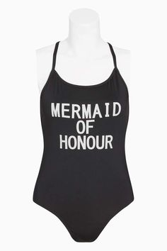 Womens Next Black 'Mermaid of Honour' Slogan Swimsuit - Black