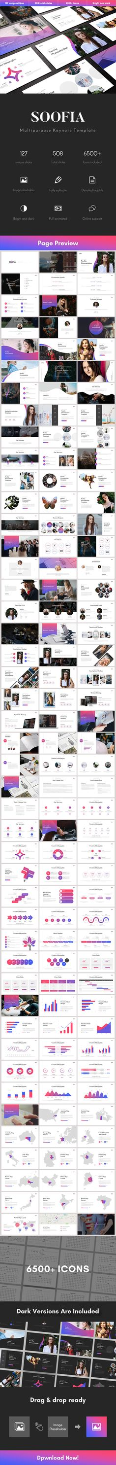 Soofia Multipurpose Keynote Template - Business Keynote Templates  Download link: https://graphicriver.net/item/soofia-multipurpose-keynote-template/22126117?ref=KlitVogli