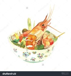 stock-photo-sour-prawn-soup-thai-food-very-famous-thai-cuisine-watercolor-painting-by-hand-reference-photo-377538928.jpg (1500×1600)