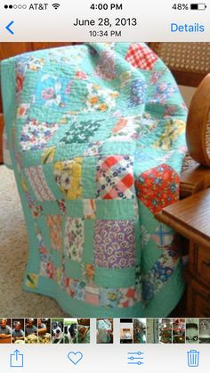Solid color as sashing Teal Quilt, Easy Quilts, Scrappy Quilts, Quilting Projects, Quilting Designs, Sewing Projects, Vintage Quilts, Fabric Scraps, Quilt Making