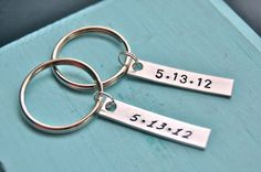 Anniversary gift for the couple, hand stamped, tag keychain.