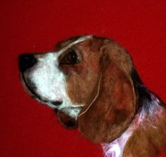 Beagle  Needle Felt Dog Wool Painting Wall by DexihexiPouchPuppies