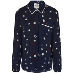Baum Und Pferdgarten Star Blouse ($185) ❤ liked on Polyvore featuring tops, blouses, navy, star print blouse, navy blue long sleeve blouse, blue long sleeve top, star print top and navy blue long sleeve top