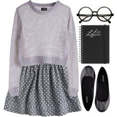 I hate the glasses and the notebook.. this isn't harry potter. but I love the skirt and sweater