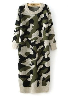 Charming Round Neck Long Sleeve Camouflage Pattern Sweater Dress