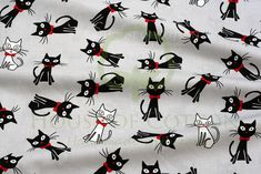 Cute cat printed 100% cotton fabric. The cats are mostly black and some of them are white and they all have sweet red bows and noses. The cats are ca. 7 cm large. Good quality, soft touch fabric,...