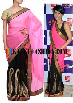 Buy it now  http://www.kalkifashion.com/half-and-half-saree-in-pink-and-black-with-zari-and-sequence-work.html  Half and half saree in pink and black with zari and sequence work