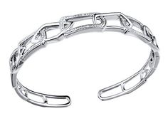 Diamond Accented Bangle Bracelet in Rhodium Plated Sterling Silver >>> To view further for this item, visit the image link.