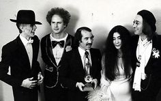 David Bowie, Paul Simon & Art Garfunkel, Yoko Ono & John Lennon at Grammy ceremony (1971)