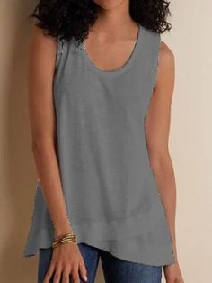 Women Tank Top Casual Loose Sleeveless Summer Plus Size Tops Plus Size Sweaters, Casual Sweaters, Casual Shirts, Plus Size Outerwear, Gris Rose, Long Sleeve Turtleneck, Plus Size Tops, Types Of Sleeves, Blouse