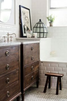 Wood Vanities with Marble Tops - Photographs by Kelly Brown