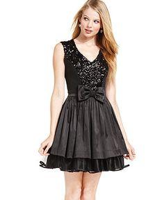 Ruby Rox Juniors Dress, Sleeveless Sequin Bow MACY'S