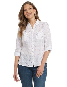 Ella J Dobby Foil Print Shirt - This button through shirt features gold foil spots all over. The shirt has two chest pockets and long sleeves that can be worn rolled up.